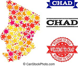 Star Mosaic Map of Chad and Grunge Watermarks