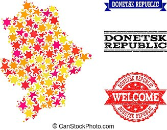 Star Mosaic Map of Donetsk Republic and Grunge Stamps