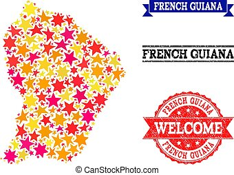 Star Mosaic Map of French Guiana and Grunge Stamps