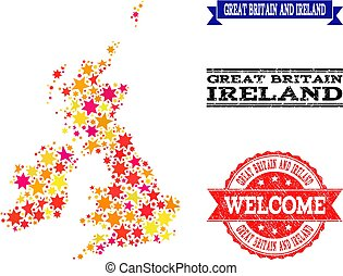 Star Mosaic Map of Great Britain and Ireland and Rubber Stamps