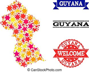 Star Mosaic Map of Guyana and Grunge Watermarks