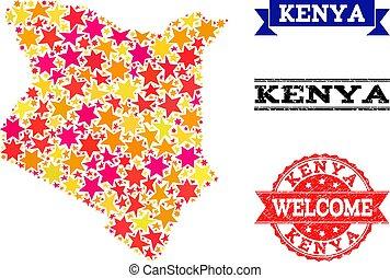 Star Mosaic Map of Kenya and Grunge Stamps