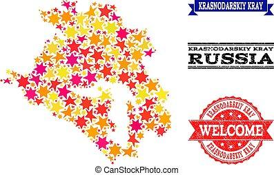 Star Mosaic Map of Krasnodarskiy Kray and Rubber Watermarks