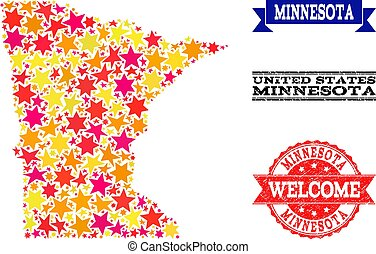 Star Mosaic Map of Minnesota State and Grunge Stamps