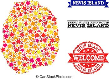 Star Mosaic Map of Nevis Island and Rubber Stamps