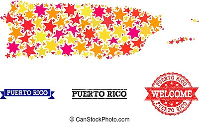 Star Mosaic Map of Puerto Rico and Grunge Stamps