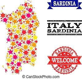 Star Mosaic Map of Sardinia Region and Grunge Watermarks -...