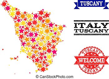 Star Mosaic Map of Tuscany Region and Grunge Watermarks -...