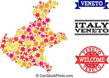 Star Mosaic Map of Veneto Region and Rubber Stamps - Mosaic...