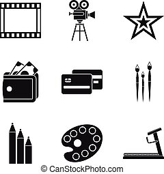Star movie icons set, simple style