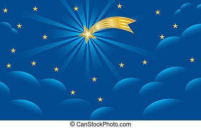 Background for Christmas nativity scene with the Star of Bethlehem on blue night sky