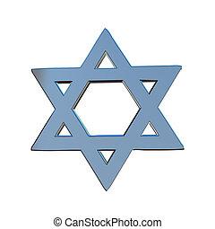 Star of David 3d in blue steel
