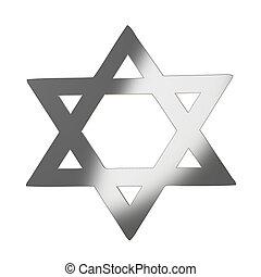 Star of David 3d in silver gray