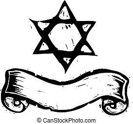 Star of David and Banner - Jewish Star of David and banner...