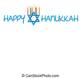 Star of David and Menorah Hanukkah - Vector Illustration...