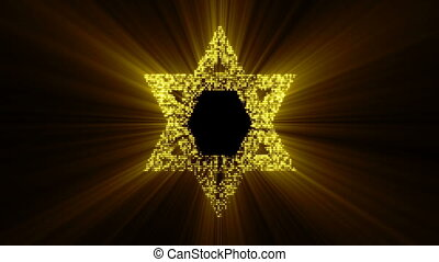 Star of David animated. Seamless loop
