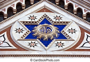 Star of David at the Santa Croce church in Florence. Italy.