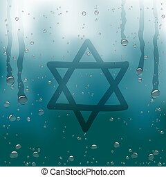 star of David draw on rainy window - Finger draw star of...