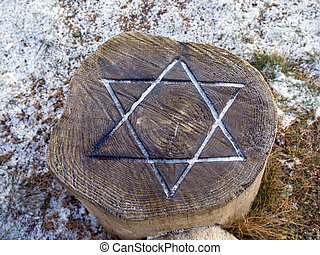 Star of David engraved in wood - Judaism - Star of David...