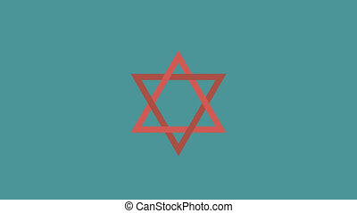 Star of david flat design animation icon. loop with alpha...