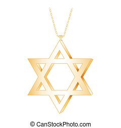 Star of David Gold Pendant - Gold Star of David pendant with...