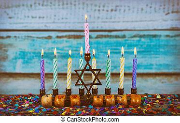Star of David Hanukkah menorah Hanukkah candles
