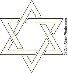Star of David. Hexagram sign. Symbol of Jewish identity and...