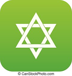 Star of David icon digital green for any design isolated on...
