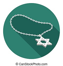 Star of David icon in flat style isolated on white...