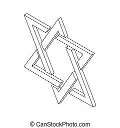 Star of David icon, isometric 3d