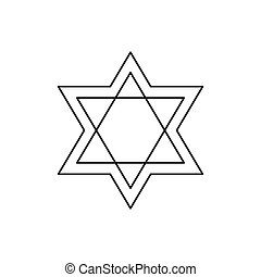 Star of David icon, outline style - Star of David icon....