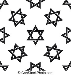 Star of David icon seamless pattern on white background....
