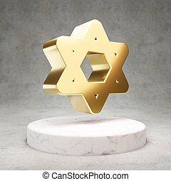 Star of David icon. Shiny golden Star of David symbol on white marble podium.
