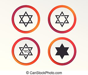 Star of David icons. Symbol of Israel. - Star of David sign...