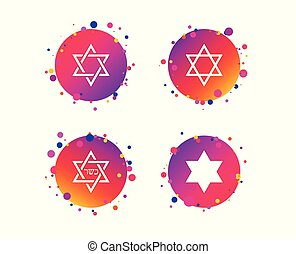 Star of David icons. Symbol of Israel. Vector - Star of...