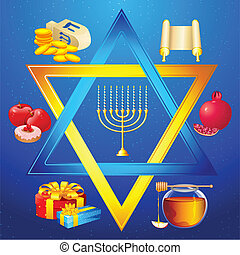 Star of David - illustration of element for hanukkah and...