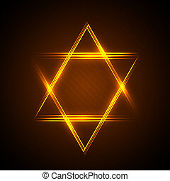 star of David - illustration of Star of David from neon...