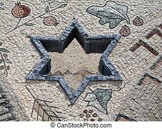 Star of David in mosaic - Judaism - Star of David in mosaic...