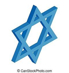 Star of David isometric 3d icon
