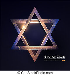 Star of David. Jewish Religion Sign. 3D Element with Light...