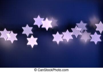 Star of David lights for Hanukkah - Beautiful bokeh lights...