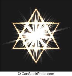star of David on a dark background. Vector illustration