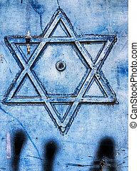 Star of David On Blue Door