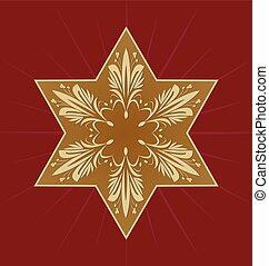 Star of David on dark red background. Golden David star with...