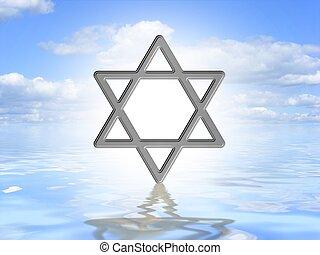 Star of David on water - Illustrated Star of David symbol on...