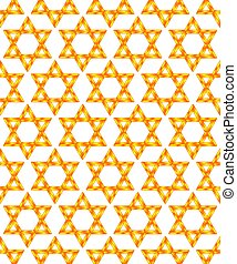 Seamless pattern of Golden Star of David symbols