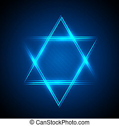star of David - illustration of Star of David from neon...