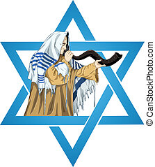 Star Of David Rabbi With Talit Blows The Shofar - A vector...