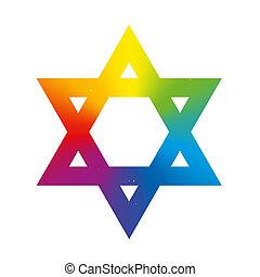 Star of David Rainbow Gradient Whit - Star of David symbol...