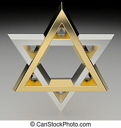 Star Of David - Realistic rendering of the star of David in...
